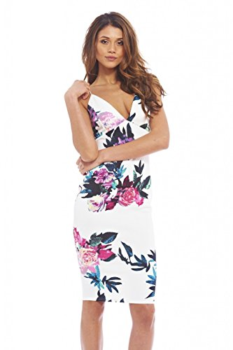 Printed Cross Front Dress - AX Paris Women's Floral Plunge Front Cross Back Midicream Dress(Cream, Size:14)