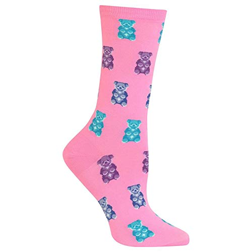 Hot Sox Women's Food and Drink Novelty Casual Crew Socks, Gummy Bears (Pink), Shoe Size: 4-10