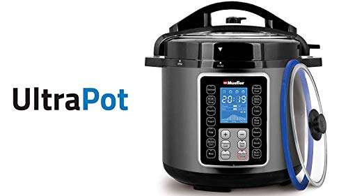 Mueller UltraPot 6Q Pressure Cooker Instant Crock 10 in 1 Hot Pot with German ThermaV Tech, Cook 2 Dishes at Once, BONUS Tempered Glass Lid incl, Saute, Steamer, Slow, Rice, Yogurt, Maker, Sterilizer