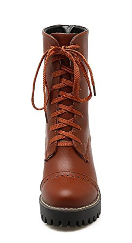 Brown AgeeMi Top Zipper Shoes Mid Boots Closed Heels EuX84 Up High Lace Women's PU Toe ZpZPrq6