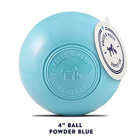 Dog Toys Balls - Tough Nearly Indestructible Toy for Aggressive Chewers - 2 Ball Sizes for Large and Small Dogs - Made in USA (Powder Blue 4 inch (Laughing Dog Ball)