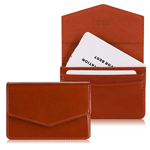 Business Card Leather Holder Case (WWW Genuine Leather Business Card Holder Business Card Case with Magnetic Shut for Men & Women, Holds 30 Business Cards Brown)