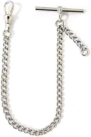Dueber Chrome Plated Diamond Cut Curb Pocket Watch