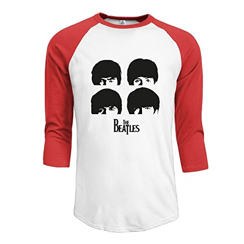 mens-the-beatles-100-cotton-3-4-sleeve-athletic-baseball-raglan-shirt-red-us-size-xl