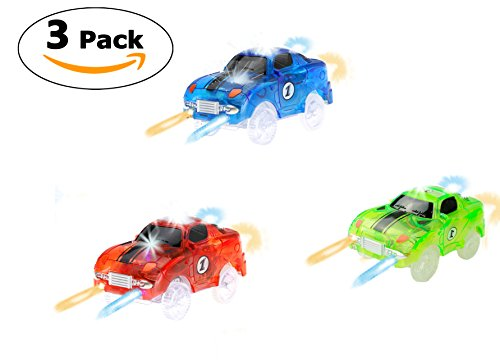Track Car (3-Pack), Multi-color Light Up Flashing LED Glow in the Dark Racing Track Accessories Compatible with Most Tracks Including Neo & Magic Track, Boys and Girls