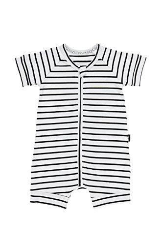 White Stripe Romper - Bonds Zip Romper (0-3 Months, Black & White Stripe)