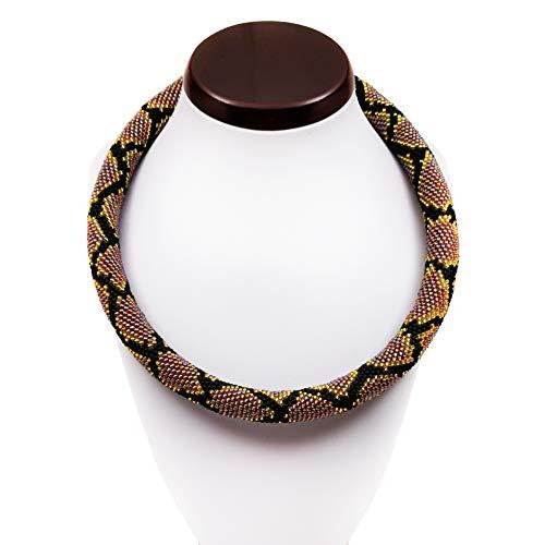 Python Skin Bead Crochet Necklace Snake Beaded Rope Gift for Her