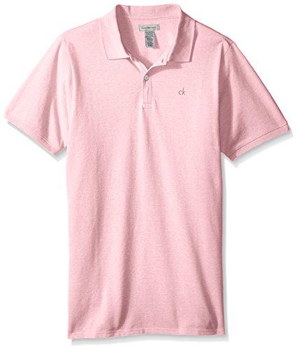 (Calvin Klein Boys' Big Solid Pique Polo, LTPINKHT, Medium (10/12))
