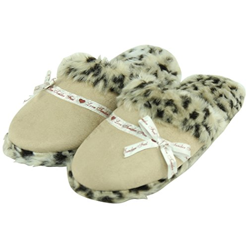 Home Slipper Womens Winter Warm Indoor House Insulated Down Quilted Slippers Mules Beige JApeuxyDi6