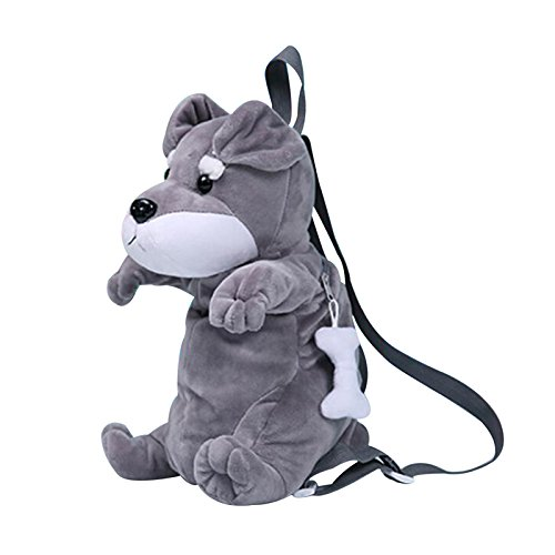 TiTa-Dong Toddler Baby Plush Backpack 3D Puppy Dog Early Learning Kindergarten Animal Cartoon Snack Travel Bag Christmas Gift for Kids Age 1-3