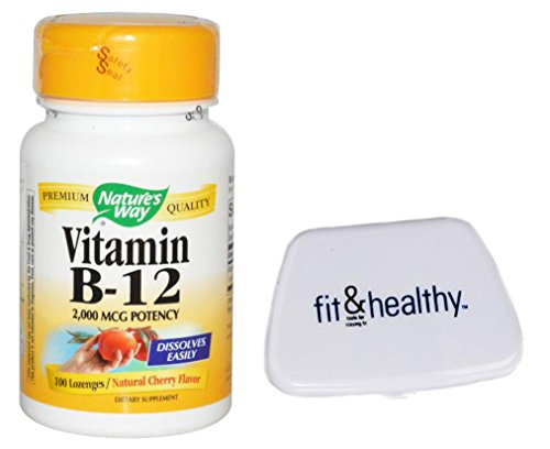 B-12 2000 mcg 100 Lozenges in Bundle with Fit & Healthy Pocket Pill Pack (Vitamin Pocket Pack)