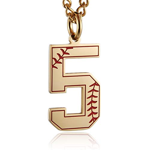 (HZMAN Baseball Initial Pendant Necklace Inspiration Baseball Jersey Number 0-9 Charms Stainless Steel Necklace (5 -)