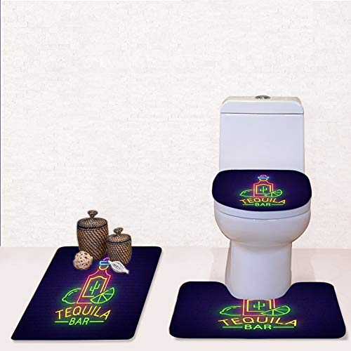 Bathroom Rug Mats Toilet lid Toilet Bath Mat, Tequila bar neon Sign Bright,3 Piece Set ()