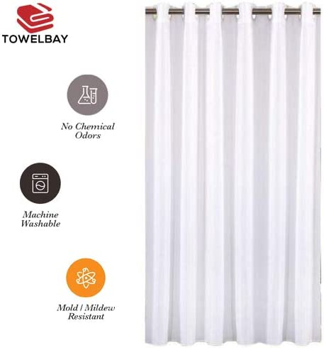 Towel Bay Hookless Shower Curtain Premium Quality Machine Washable White, 72x74 100/% Polyester Fabric Hookless Shower Curtains