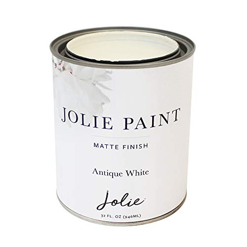 Jolie Paint - Matte Finish Paint for Furniture, cabinets, Floors, Walls, Home Decor and Accessories - Water-Based, Non-Toxic - Antique White - 32 oz (Quart)