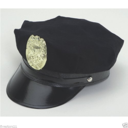 [Police Officer Policeman Police Man Cop Navy Blue Badge Hat Costume Accessory] (Policeman Hat Costume)