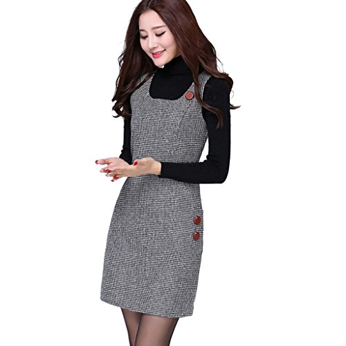 Ms Stunner Women's Sleeveless Houndstooth Dresses CN M Grey
