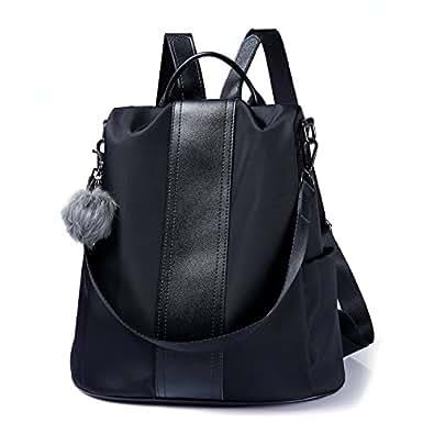Women Backpack Purse Waterproof Nylon Anti-theft Rucksack Lightweight Shoulder Bag Black Size: Medium