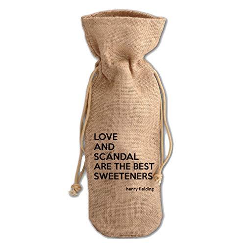 Sweeteners Of Tea (Henry Fielding) Jute Burlap Wine Drawstring Bag