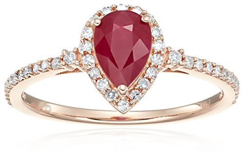 14k Rose Gold Ruby and Diamond Halo Engagement Ring (1/4 cttw, H-I Color, I1-I2 Clarity), Size 7