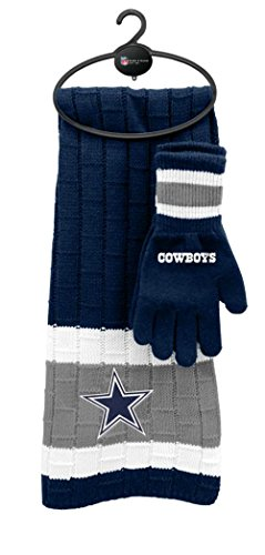 Reebok Football Glove - Dallas Cowboys Winter Scarf & Glove Set One Size OSFA - Navy Blue & Gray
