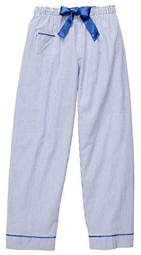 Royal Blue Striped Seersucker VIP Pants with Ties and Satin Trim, (Blue Seersucker Pants)