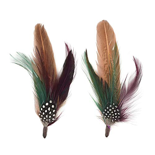 Zucker Feather (TM) - Pheasant-Hackle-Guinea Feather Hat Trims Cinnamon/Fig/Natural