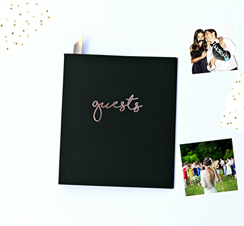 Modern Matte Black Wedding Guestbook Alternative, Embossed Rose Gold Foil. Soft-Cover Flat-Lay Photo Guest Book Easy To Stick Photos, Messages. Polaroid Guest Book, Instax Photo Album and Photo Booth. - Black Embossed Album