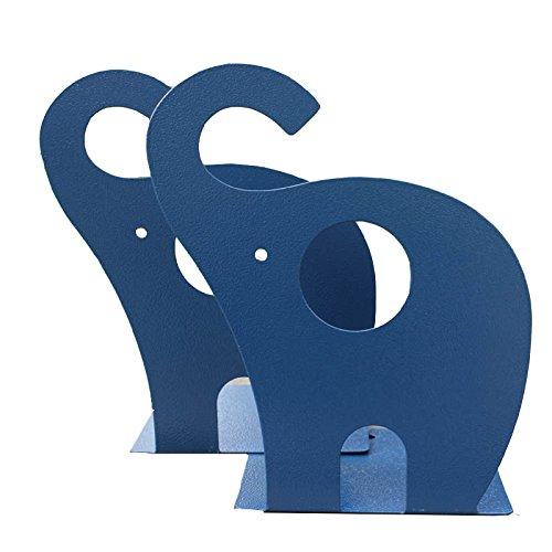 YIHUI Y-H 1Pair Cute Cartoon Elephant Nonskid Bookends Art Bookend (Navy Blue) ()