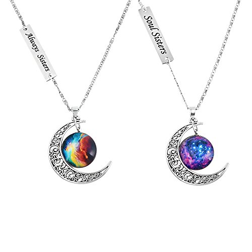 MJartoria Love Across Light Years Filigree Crescent Moon Nebulae Cabochon Friendship Necklace Set of 2