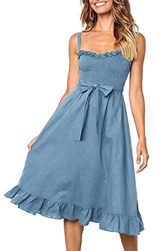 Angashion Women's Dresses - Summer Boho Floral Spaghetti Strap Button Down Belt Swing A line Midi Dress with Pockets 119 Blue M