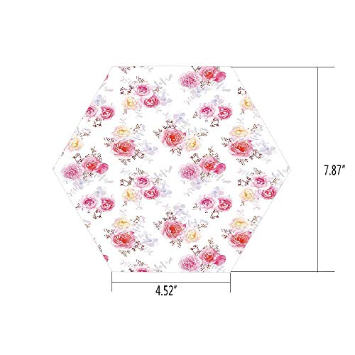 iPrint Hexagon Wall Sticker,Mural Decal,Flower,Minimal Romantic Pastel Roses Babies Breath and Leaves Watercolor Flower Pattern,White Pink,for Home Decor 4.52x7.87 10 Pcs/Set