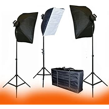 ePhoto VL9026S3 3000 Watt Continuous Light Kit with Carrying Bag with 3 each of 6.5 Foot Tripod, 22x28-Inches Softboxes and Light Heads with 15 45W 5500k CFL Bulbs