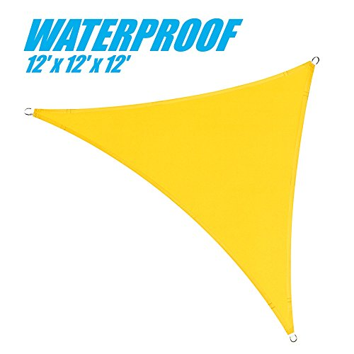 (ColourTree 100% BLOCKAGE Waterproof 12' x 12' x 12' Sun Shade Sail Canopy  Triangle Coffee - Commercial Standard Heavy Duty - 220 GSM - 4 Years Warranty (1, Yellow) )