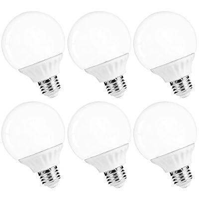LOHAS G25 LED Globe Bulb,Vanity Light Bulb 40-45W Equivalent Bathroom Vanity Light, Make up Mirror LED Light for Home Lighting,E26 Edison 500LM, Not-Dimmable,6Pack