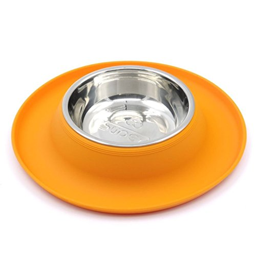 SuperDesign Single Stainless Steel Bowls in Non-Skid & No Spill Silicone Mat,for Small Dogs or Cats, Small, Orang