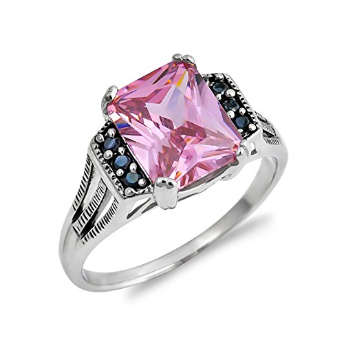 Fashion Ring Radiant Cut Simulated Pink Topaz Round Black Cubic Zirconia 925 Sterling Silver