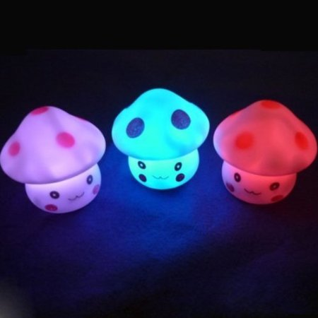 Liroyal 7 Color Change Decoration LED Lamp Night Light Candle Flash Kids Mushroom