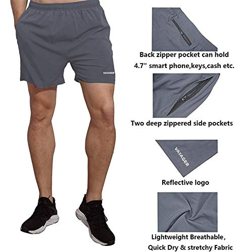 VAYAGER Men's 5 Inch Running Shorts Quick Dry Workout Athletic Performance Shorts with Liner and Zipper Pocket