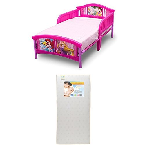 Delta Children Plastic Toddler Bed, Disney Princess  with Twinkle Stars Crib & Toddler Mattress