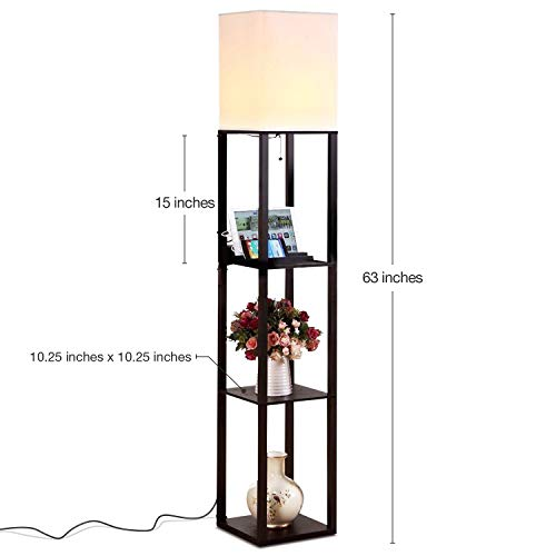 Brightech Maxwell Charging Edition – LED Shelf Floor Lamp for Living Rooms Bedrooms – Includes USB Ports Electric Outlet – Modern Standing Light – Asian Display Shelves – Black