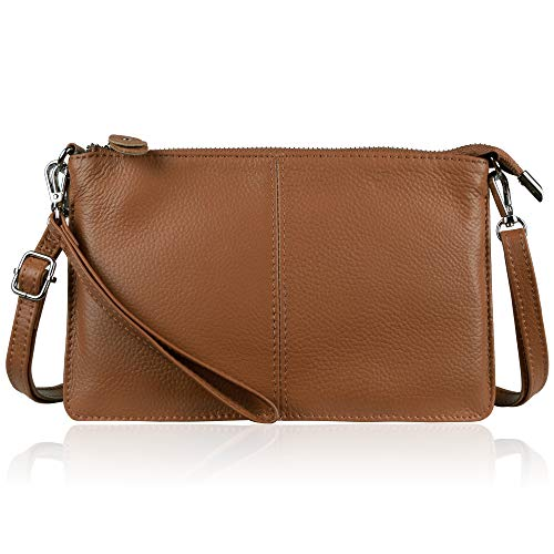 Befen Women's Leather Wristlet Clutch Phone Wallet Small Crossbody Purses and Hangbag with Card Slots (Caramel Brown)
