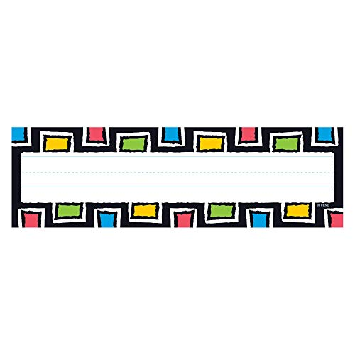 Trend Enterprises T-69256 Desk Toppers Name Plates, Bold Strokes Rectangles (Pack of 36)