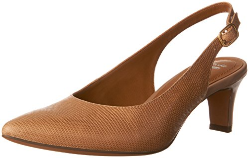 Clarks Womens Crewso Riley Dress Pump Stampa Lucertola In Pelle Champagne