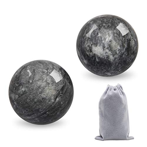Coolrunner 2'' Marble Dark Grey Baoding Balls Chinese Health Stress Relieve Hand Exercise Hand Massage Hand Balls