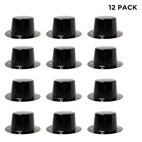 Windy City Novelties Black Mini Top Hat - 12 - Plastic Mini Top Hat