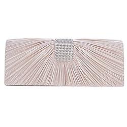 Ladies Luxury Satin Pleated Flap Evening Cocktail Bag Wedding Party Handbag Clutch Purse Wallet Pink