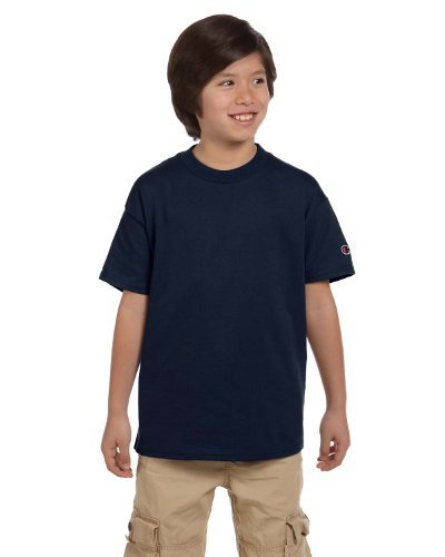 (Champion Youth 6.1 oz. Short-Sleeve T-Shirt, Medium, NAVY)