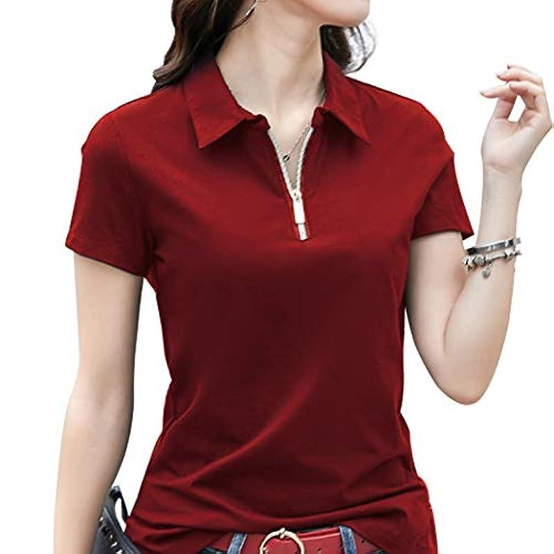 KUKAKI(《구카키》) 폴로 셔츠 레이디스 반소매 패스너 슬림 무지 테니스 웨어 컷소우 골프 웨어 스포츠 폴로 배드민턴 면셔츠 하용