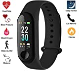 SBA999 Fitness Band with Blood Pressure Blood Oxygen Check (Non-Medical) Live Heart Rate Monitor Bluetooth v4.1 Sports Band and Activity Tracker
